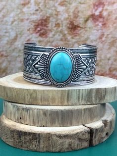 Turquoise/Silver Cuff Bracelet - BRC275TU