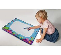 Great no-mess option to practice mark making. It just uses water and colour magically appears. Can be done lying on tummies for extra therapy points!