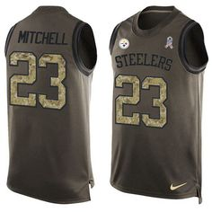 Nike Steelers #23 #Mike #Mitchell Green Men's Stitched NFL Limited Salute To Service Tank Top Jersey