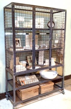 Steel Wire Cabinet  ~ How cool. Totally love it. (but would hate to dust it, lol!)