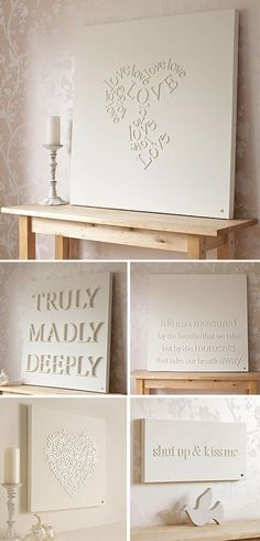 apply wooden letters on canvas and spray paint. - Click image to find more DIY & Crafts Pinterest pins