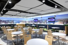 SSDG Interiors Inc. | retail: Harbour Centre Food Court wall graphics of Vancouver panorama skyline