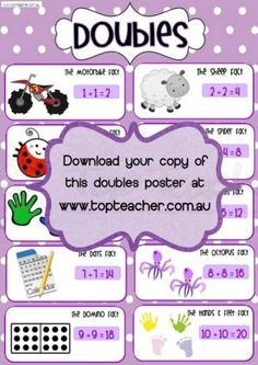 Doubles poster for use with math strategy doubles and near doubles