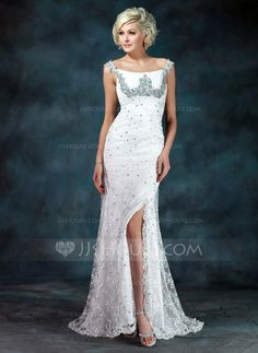 Mother of the Bride Dresses - $182.99 - Sheath Off-the-Shoulder Sweep Train Chiffon Charmeuse Lace Mother of the Bride Dress With Ruffle Beading Sequins (008006400) http://jjshouse.com/Sheath-Off-The-Shoulder-Sweep-Train-Chiffon-Charmeuse-Lace-Mother-Of-The-Bride-Dress-With-Ruffle-Beading-Sequins-008006400-g6400