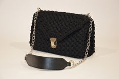 Crochet Black Flap Bag With Metal And Faux Leather Details, Women Evening Purse, Minimalist Shoulder Bag, Gift For Her, Best Friend Gift Gifts For Friends, Gifts For Her, Chanel Boy Bag, Minimalist, Shoulder Bag, Purses, Trending Outfits, Crochet, Unique Jewelry
