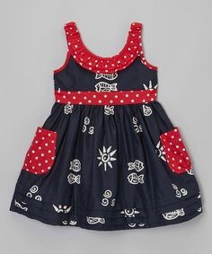 Love this Navy & Red Polka Dot Pocket Dress - Infant, Toddler & Girls on #zulily! #zulilyfinds
