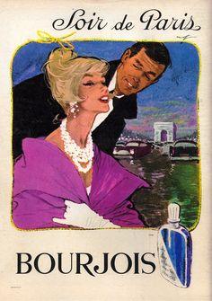 Vintage Bourjois * Evening in Paris * Advertisment. Bourjois Perfume, Perfume Ad, Vintage Advertisements, Vintage Ads, Bourjois Evening In Paris, Perfumes Vintage, Vintage Bookmarks, Rene Gruau, Eiffel