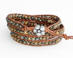Leopardskin Jasper 4X Beaded Leather Wrap Bracelet, Four (4)  Wraps, 4mm Leopardskin Jasper beads, distressed leather