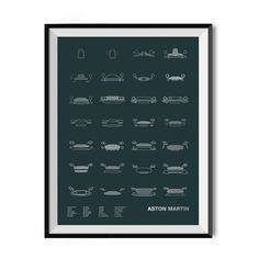 """Models shown:1914 COAL SCUTTLE /1927 SERIES 1 /1939 ATOM /1948 2-LITRE SPORTS DB1 /1950 DB2/1957 DB MKIII/1959 DBR1/1960 DB4GT ZAGATO/1963 DB5/1967 DBS/1972 AMV8/1977 V8 VANTAGE/1989 V8 VIRAGE/1993 V8 VANTAGE/1994 DB7/1999 DB7 VANTAGE/2001 V12 VANQUISH/2003 DB7 ZAGATO/2007 DBS V12/2010 ONE-77/2010 RAPIDE/2011 VIRAGE/2011 V12 ZAGATO/2012 VANQUISH/2013 CC100/2015 DB10/2015 LAGONDA TARAF/2015 VANTAGE GT Size: 18"""" x 24""""Ink:Metallic…"""