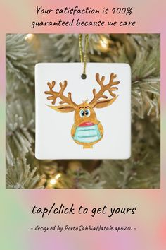 Rudolph the Face Masked Reindeer Ceramic Ornament - tap/click to get yours right now! #CeramicOrnament #rudolph #the #face #masked #reindeer, Reindeer, Ceramics, Christmas Ornaments, Holiday Decor, Face, Ceramica, Pottery, Christmas Jewelry, The Face