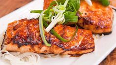 Glazed Salmon Fillets recipe - Everyday Gourmet with Justine Schofield Trout Recipes, Prawn Recipes, Seafood Recipes, Asian Recipes, Cooking Recipes, Seafood Meals, Savoury Recipes, Fish And Chicken, Gourmet