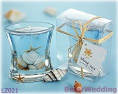 Seashells Gel Candle in Clear Gift Box with Raffia Tie BETER-LZ021      Ocean, Beach Theme Party Crafts 上海倍樂禮品Shanghai Beter Gifts ; http://shanghai-beter.taobao.com