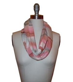 Hand painted scarf, circle, infinity, pink grey striped
