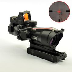Trijicon ACOG Style 4X32 Real Fiber Source Red Illuminated Scope w  RMR Micro Red Dot
