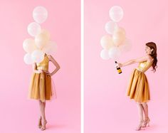 Whether it's Halloween or New Year's, don this easy DIY Glass of Champagne Costume!