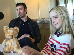 """Chris Evans and McKenna Grace at the press day for """"Gifted"""" - great chemistry!"""
