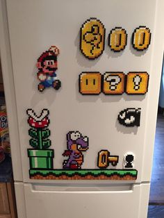 Items similar to super mario world fridge magnet set on etsy - Bügelperlen - John craft Perler Bead Designs, Hama Beads Design, Diy Perler Beads, Hama Beads Patterns, Pearler Beads, Beading Patterns, Super Mario World, Bolo Super Mario, Super Mario Bros