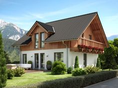 Country house style house with wood plaster facade, balcony, pitched roof Architecture & gable - House build ideas Bien Zenker Prefab house EVOLUT. Prefabricated Houses, Prefab Homes, Building Facade, Building A House, Future House, My House, German Houses, Piscina Interior, Roof Architecture