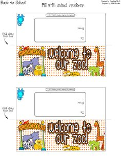 Goodie bag topper card labels. WELCOME TO OUR ZOO. Perfect for back to school, especially if you have a jungle or animal theme. Fill with animal crackers.