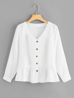 Women Cute Plain Shirt Regular Fit V Neck Long Sleeve Placket White Regular Length Single Breasted Ruffle Hem Blouse Fashion News, Fashion Outfits, Spring Shirts, Spring Blouses, Plain Shirts, Dressy Tops, Blouse Online, Shirt Blouses, Blouse Designs