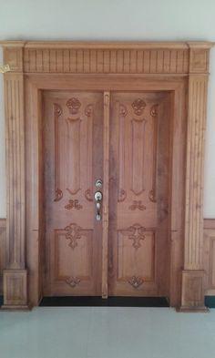 Front Double Door Design Photos In India Home Door Design, Door Gate Design, Wooden Door Design, Front Door Design, Wooden Doors, House Design, Main Door Design Photos, Kitchen Lighting Design, Kitchen Design