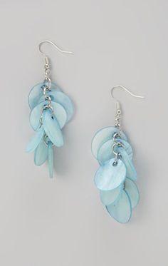 Blue Shell Cluster Drop Earrings