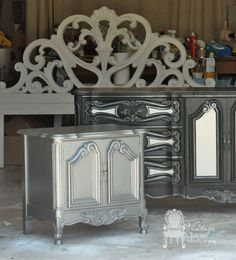 charming french bedroom set, bedroom ideas, home decor, painted furniture, Ralph Lauren Iron Gate on the nightstand Maison Blanche Paint in Wrought Iron and Pewter Organza Custom mixed white for the headboard and dresser accents Metallic Painted Furniture, Painted Bedroom Furniture, Metal Furniture, Rustic Furniture, Furniture Decor, Furniture Repair, Furniture Refinishing, Distressed Furniture, Upcycled Furniture