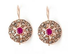 Star Mosaic Earrings - Arik Kastan Ruby, Rose-cut Diamond, 14kt Rose Gold