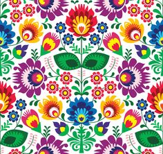Illustration about Repetitive colorful background - polish folk art pattern. Illustration of cute, folk, garden - 31258852 Mexican Embroidery, Hungarian Embroidery, Folk Embroidery, Embroidery Patterns, Flower Embroidery, Machine Embroidery, Bordado Popular, Mexican Pattern, Polish Folk Art