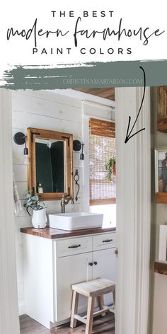 """The best modern farmhouse paint colors. Includes multiple real life examples from our fixer upper Victorian farmhouse that has been renovated and answers the ever popular """"what are the best neutral paint colors?"""" Farmhouse Paint Colors, Farmhouse Style Decorating, Interior Decorating, Interior Design Inspiration, Home Decor Inspiration, Decor Ideas, Best Neutral Paint Colors, Wall Colors, Bathroom Remodel Pictures"""