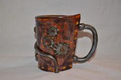 Steampunk Mug by HillsofClay on Etsy