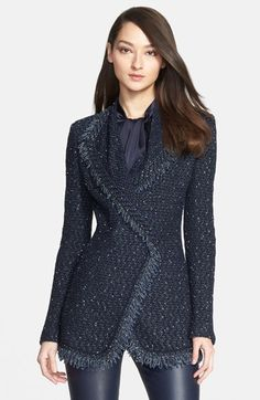 Free shipping and returns on St. John Collection Fringed Tweed Knit Double Breasted Jacket at Nordstrom.com. An angled front panel and double-breasted design create a flattering, waist-nipped profile for a long, richly textured tweed-knit jacket framed with fringed trim for a classic finish.