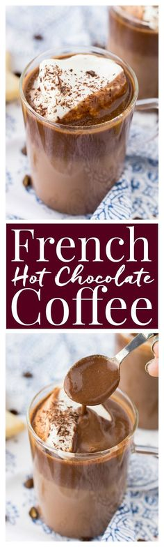 This French Hot Chocolate Coffee is an indulgent blend of thick. This French Hot Chocolate Coffee is an indulgent blend of thick and creamy Parisian hot chocolate and bold hot dark roast coffee. The perfect brunch or dessert beverage for the holidays! Hot Chocolate Coffee, Hot Chocolate Recipes, Hot Coffee, Coffee Drinks, Chocolate Desserts, Cafeteria Menu, Yummy Drinks, Yummy Food, Liqueur