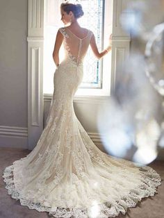 Cheap Wedding Dresses, Buy Directly from China Suppliers: real photo mermaid lace wedding dress train sexy wedding dresses new 2015 crystal wedding gowns robe de mariage bridal& Vintage Style Wedding Dresses, Vintage Lace Weddings, Stunning Wedding Dresses, Wedding Dresses 2014, Lace Mermaid Wedding Dress, Cheap Wedding Dress, Bridal Dresses, Wedding Gowns, Backless Wedding