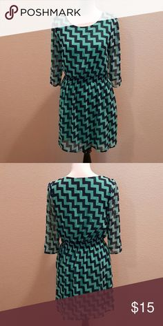Francesca Womens Dress In excellent condition. Super cute! Mint and navy blue print. Francesca's Collections Dresses