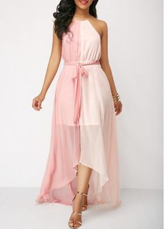 Tie Back Belted Sleeveless Pink Dress | Rosewe.com - USD $35.78