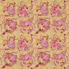 Red and Yellow Crab Printed Stretch Cotton Sateen