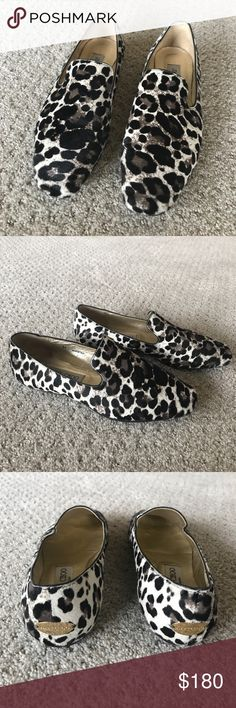 Jimmy Choo calfskin snow leopard loafer Worn twice, great condition, no wear on the calfskin at all. Jimmy Choo Shoes Flats & Loafers