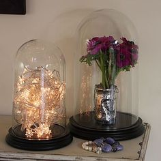 Glass Bell Jar Dome With Wooden Base