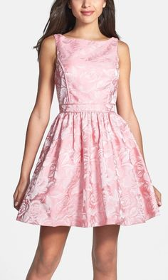 Pretty in pink fit & flare dress.