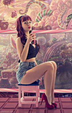 Retro Girl  cute photography summer vintage candy sweets soda retro