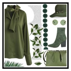 """""""Green with Envy"""" by alliesmns ❤ liked on Polyvore featuring Chicwish, Betmar, Jil Sander, Yves Saint Laurent, Smith & Cult and Nika"""