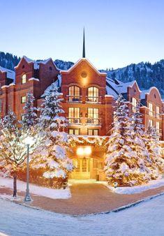 Beautiful snowy night at The St. Regis, Aspen.