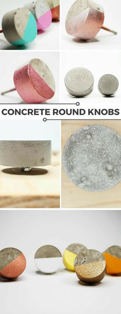 Beautiful concrete paint dipped round cabinet knobs. Fun and colorful addition to a cabinet. I love them, available in so many colors. #ad #concrete #knob #cabinetknob #homedecor #cement #paintdipped