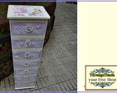 Muebles Pintados, Lavanda Vintage, Mueble Joyero, Regalo Chica, mueble almacenaje, Mueble Cajonera, Mueble organizador cosas pequeñas