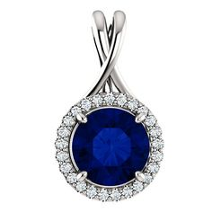 8mm Blue Sapphire & Diamond Halo Pendant Necklace 18k White Gold, Luxury Gifts, High End Jewelry, Raven Fine Jewelers, 2 Carat Sapphire Necklace, Anniversary Gifts for Women, Wedding Jewelry