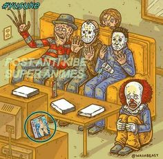 I have a hunger for a horrorfilm. I would normally do that on Halloween but I'm already going to Jigsaw tomorrow. Help me pick what should I watch? Art by -Melvin Horror Movies Funny, Horror Movie Characters, Scary Movies, Comedy Movies, Classic Horror Movies, Romance Movies, Halloween Horror, Halloween Art, Happy Halloween