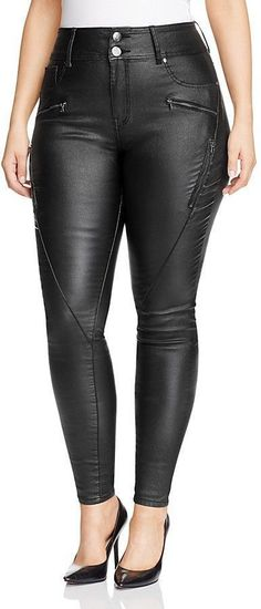 Plus Size Wet Look Coated Skinny Moto Jeans