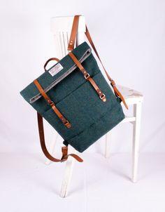 Image of Harris Tweed Emerald Green Roddy Backpack