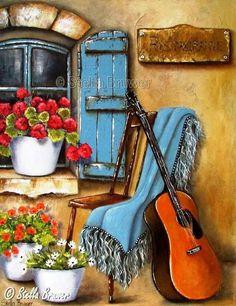 Fenêtre  et guitare